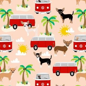 chihuahua summer beach fabric - surfing, dog, palm trees - blush