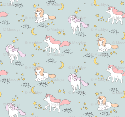 Unicorns fabric maddyz spoonflower for Space unicorn fabric