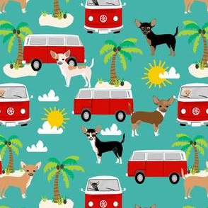 chihuahua summer beach fabric - surfing, dog, palm trees - turquoise