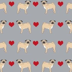 pug hearts fabric love pugs dog fabric - grey