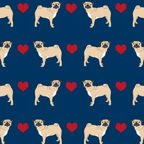 pug hearts fabric love pugs dog fabric - navy