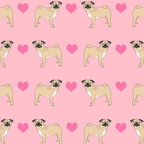 pug hearts fabric love pugs dog fabric - pink