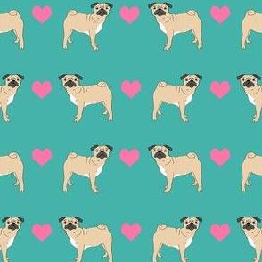 pug hearts fabric love pugs dog fabric - turquoise