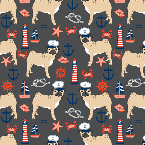 pug nautical fabric summer cute dogs fabric - charcoal fabric by petfriendly on Spoonflower - custom fabric