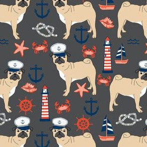 pug nautical fabric summer cute dogs fabric - charcoal