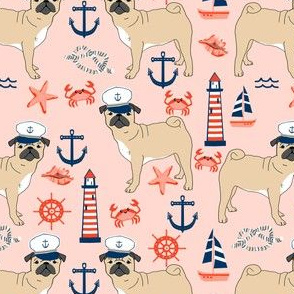 pug nautical fabric summer cute dogs fabric - light pink
