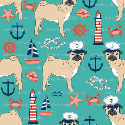 pug nautical fabric summer cute dogs fabric - turquoise