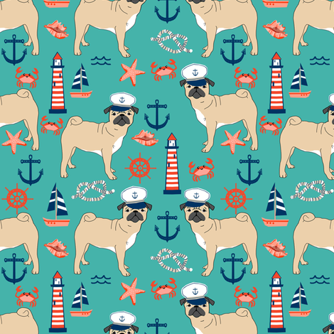pug nautical fabric summer cute dogs fabric - turquoise fabric by petfriendly on Spoonflower - custom fabric