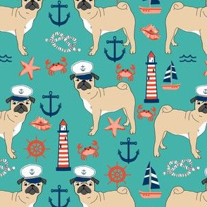 pug nautical fabric summer cute dogs fabric - turquoise