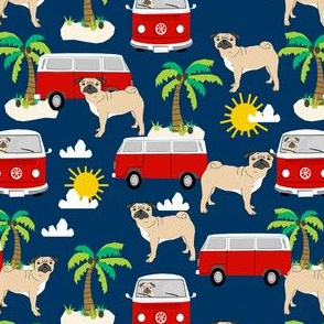 pug fabric summer  beach fabric -navy
