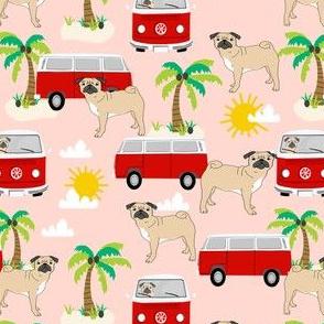 pug fabric summer hippie bus palm trees beach fabric - blush