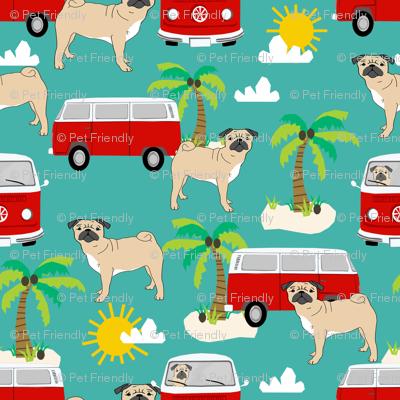 pug fabric summer  beach fabric - turquoise
