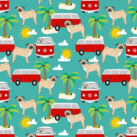 pug fabric summer  beach fabric - turquoise fabric by petfriendly on Spoonflower - custom fabric