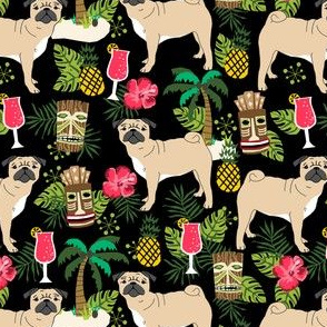 pug tiki fabric summer tropical island tropical design - black