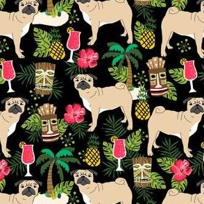 pug tiki fabric summer tropical island tropical design - black