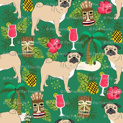 pug tiki fabric summer tropical island tropical design - green