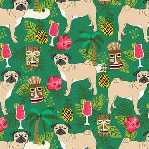 pug tiki fabric summer tropical island tropical design - green