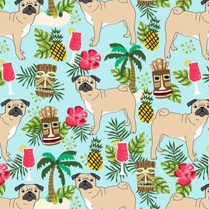 pug tiki fabric summer tropical island tropical design - light blue