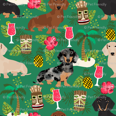 dachshund tiki fabric summer tropical island tropical design - green