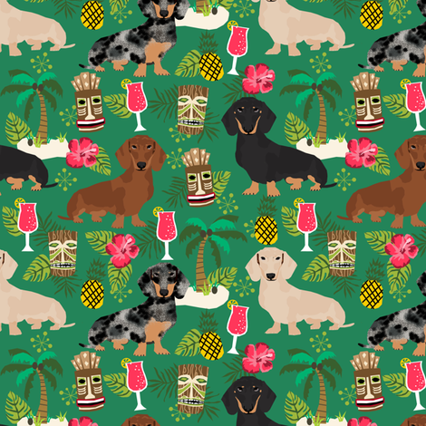 dachshund tiki fabric summer tropical island tropical design - green fabric by petfriendly on Spoonflower - custom fabric