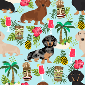 dachshund tiki fabric summer tropical island tropical design - light blue