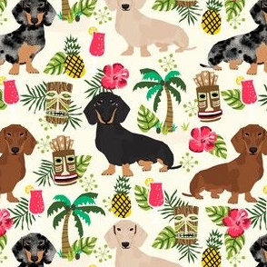 dachshund tiki fabric summer tropical island tropical design - off-white