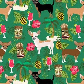 chihuahua tiki fabric summer tropical island tropical design - green