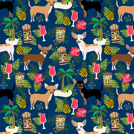chihuahua tiki fabric summer tropical island tropical design - navy fabric by petfriendly on Spoonflower - custom fabric