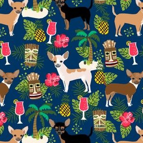 chihuahua tiki fabric summer tropical island tropical design - navy