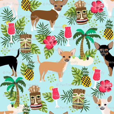 chihuahua tiki fabric summer tropical island tropical design - light blue