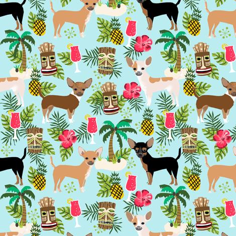 chihuahua tiki fabric summer tropical island tropical design - light blue fabric by petfriendly on Spoonflower - custom fabric