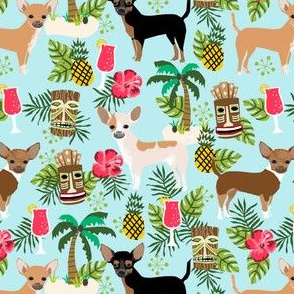chihuahua tiki fabric summer tropical island tropical design - light blue