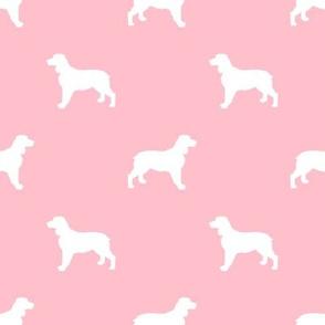 English Springer Spaniel dog silhouette blossom pink