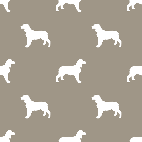 English Springer Spaniel dog silhouette med brown fabric by petfriendly on Spoonflower - custom fabric