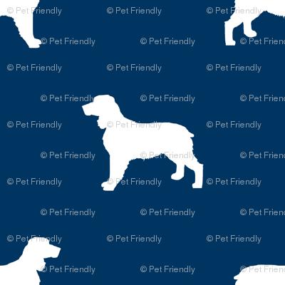 English Springer Spaniel dog silhouette navy