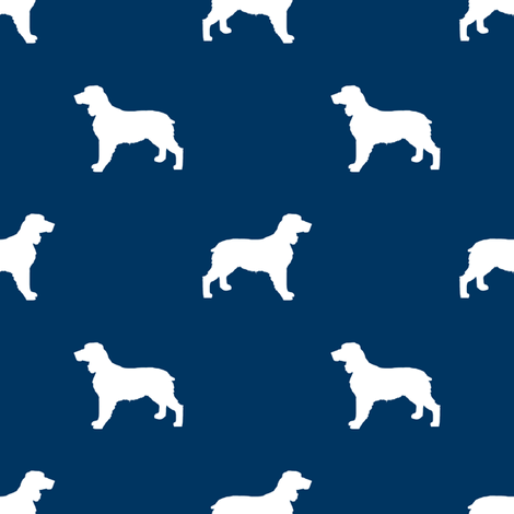 English Springer Spaniel dog silhouette navy fabric by petfriendly on Spoonflower - custom fabric