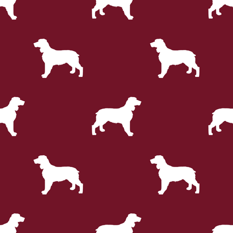 English Springer Spaniel dog silhouette ruby fabric by petfriendly on Spoonflower - custom fabric