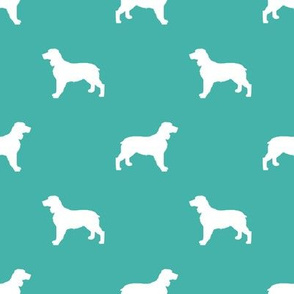 English Springer Spaniel dog silhouette turquoise