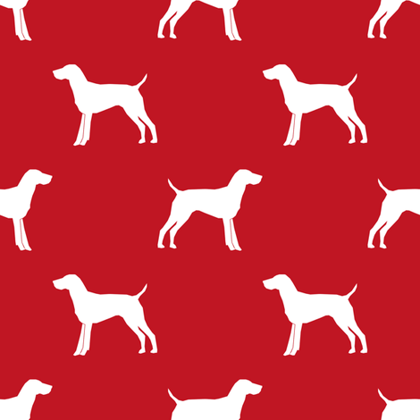 German Shorthair Pointer dog silhouette red fabric by petfriendly on Spoonflower - custom fabric