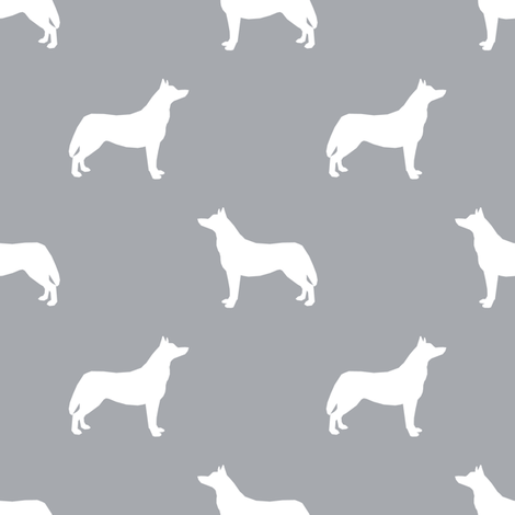 Husky dog silhouette grey fabric by petfriendly on Spoonflower - custom fabric