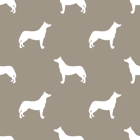 Husky dog silhouette med brown fabric by petfriendly on Spoonflower - custom fabric