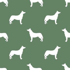 Husky dog silhouette med green