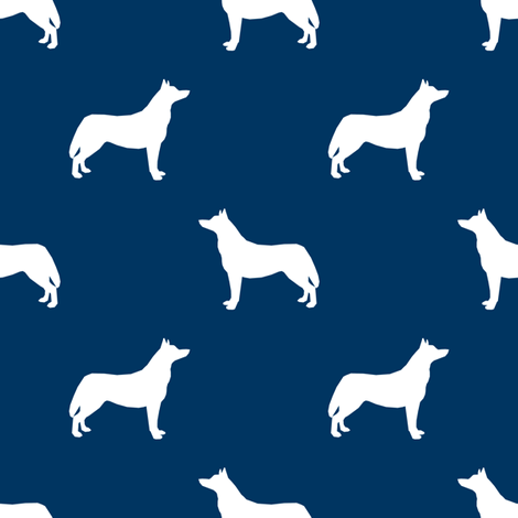 Husky dog silhouette navy fabric by petfriendly on Spoonflower - custom fabric