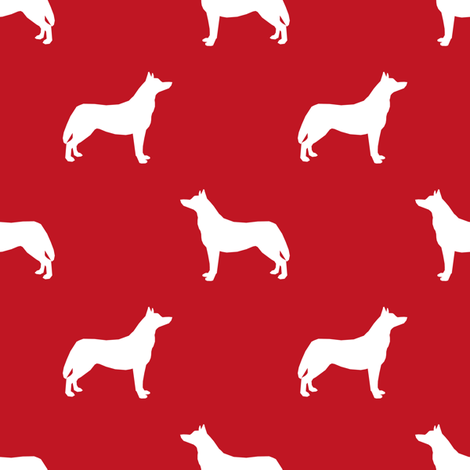 Husky dog silhouette red fabric by petfriendly on Spoonflower - custom fabric