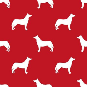 Husky dog silhouette red