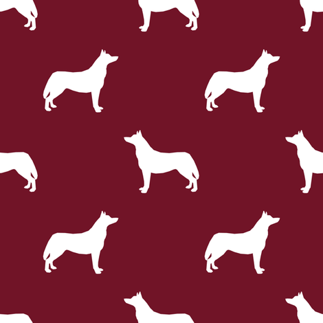 Husky dog silhouette ruby fabric by petfriendly on Spoonflower - custom fabric