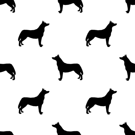 Husky dog silhouette white fabric by petfriendly on Spoonflower - custom fabric
