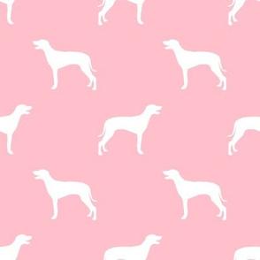 Weimaraner dog silhouette blossom pink