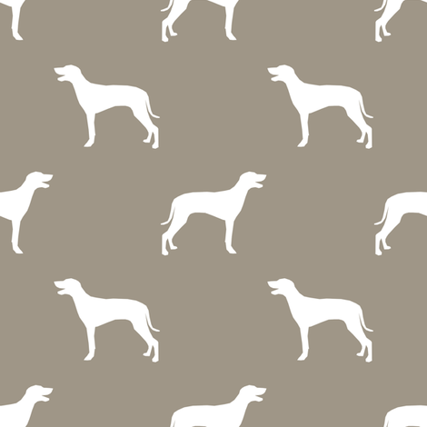 Weimaraner dog silhouette med brown fabric by petfriendly on Spoonflower - custom fabric