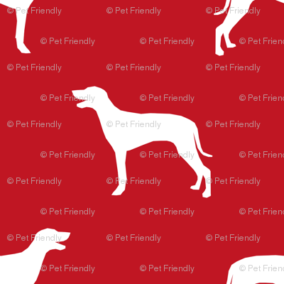 Weimaraner dog silhouette red
